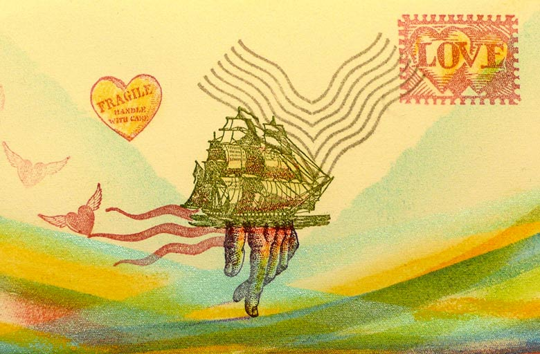fragile ship stamp art